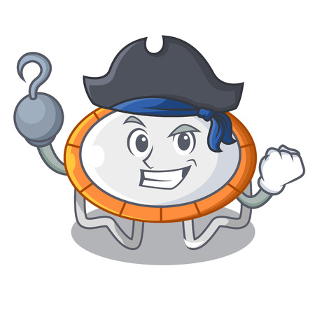Pirate trampoline jumping shape cartoon realistic icon