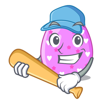 Playing baseball easter egg cartoon clipping on path vector illustration
