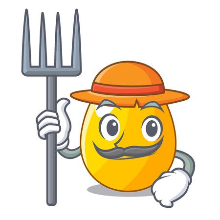 Farmer golden egg cartoon for greeting card vector illustartion