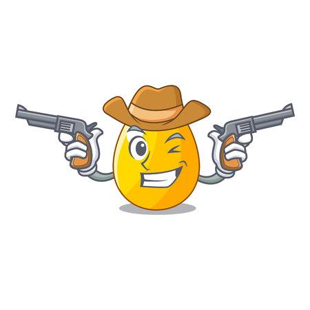 Cowboy golden egg cartoon for greeting card vector illustartion