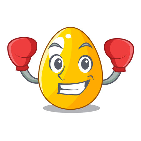 Boxing golden egg cartoon for greeting card vector illustartion Illustration