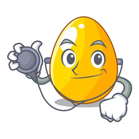 Doctor golden egg cartoon for greeting card vector illustartion