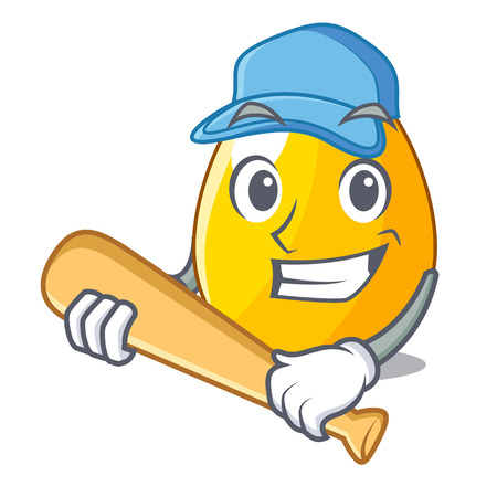 Playing baseball golden egg cartoon for greeting card