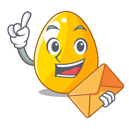 With envelope golden eggo on isolated image mascot Иллюстрация