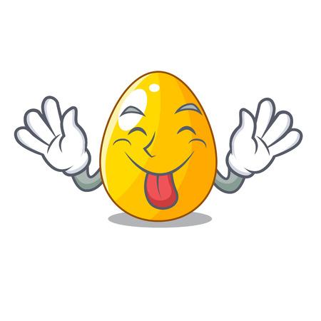 Tongue out golden egg with cartoon shape reflection vector illustartion