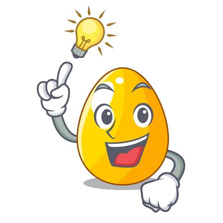 Have an idea golden egg with cartoon shape reflection vector illustartion