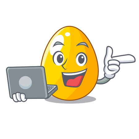 With laptop golden egg cartoon for greeting card vector illustartion