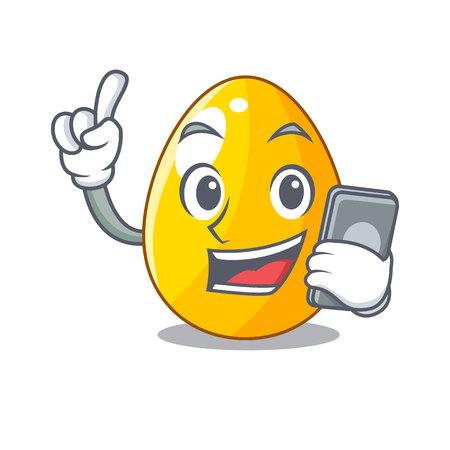 With phone golden egg cartoon for greeting card vector illustartion