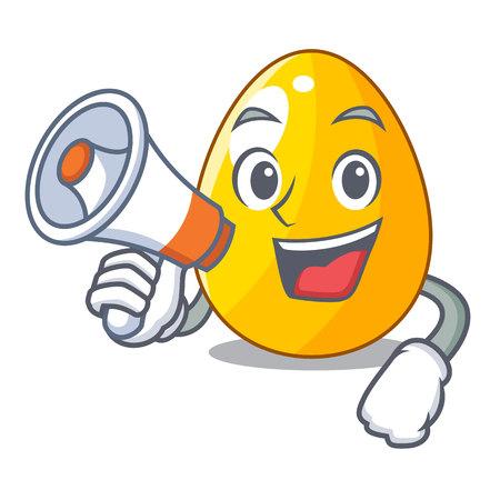With megaphone golden egg cartoon for greeting card vector illustartion Illustration