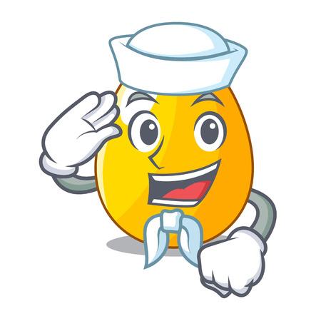 Sailor golden egg cartoon for greeting card vector illustartion
