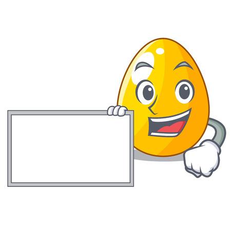 With board golden egg cartoon for greeting card vector illustartion