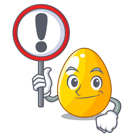 With sign golden egg cartoon for greeting card vector illustartion Illustration