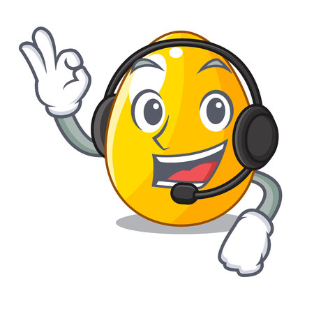 With headphone golden egg with cartoon shape reflection vector illustartion