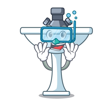 Diving kitchen sink on stely modern character vector illustartion