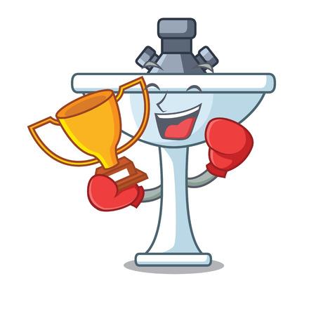 Boxing winner bathroom ceramic sink on mascot isolated vector illustartion