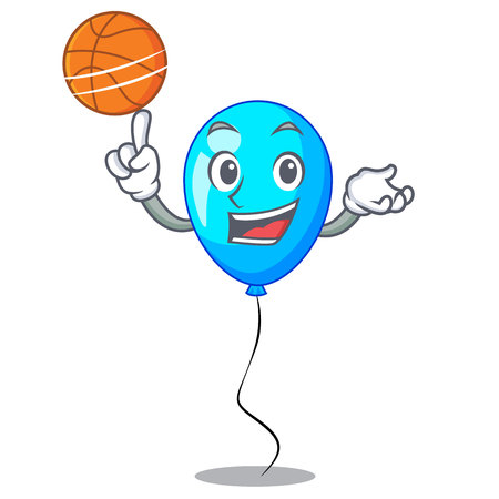 With basketball birthday cartoon on shape balloon blue vector illustration