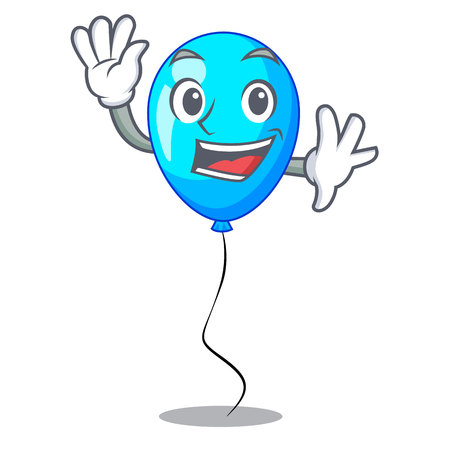 Waving blue balloon character on the rope vector illustration