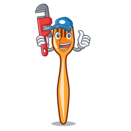 Plumber plastic fork on cartoon image funny Illustration