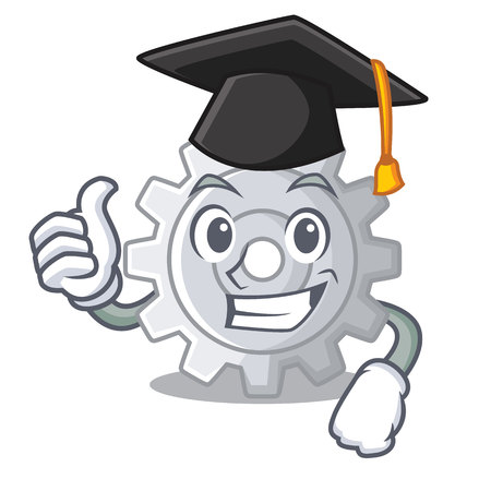Graduation gear on style character shape funny vector illuatration Illustration
