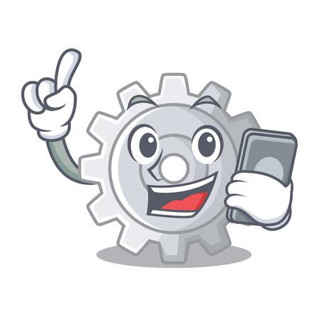 With phone roda gear simple image on cartoon vector illustration