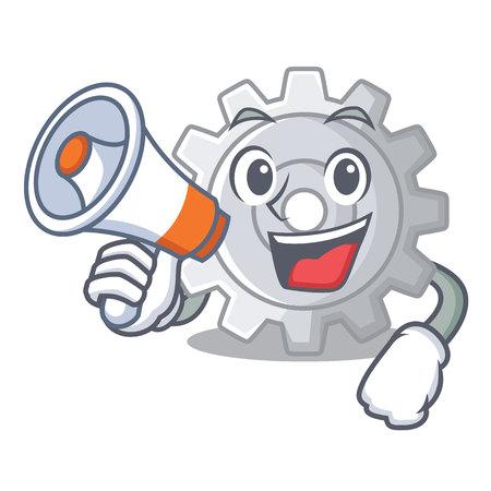 With megaphone roda gear simple image on cartoon vector illustration