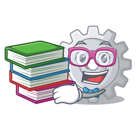 Student with book gear icon cartoon the design best vector illustration