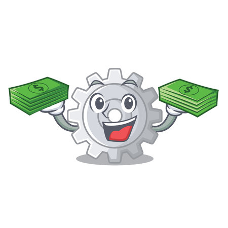 With money gear settings mechanism on mascot shape vectore illustaration