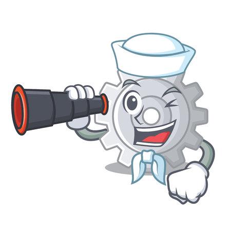 Sailor with binocular gear settings mechanism on mascot shape vectore illustaration