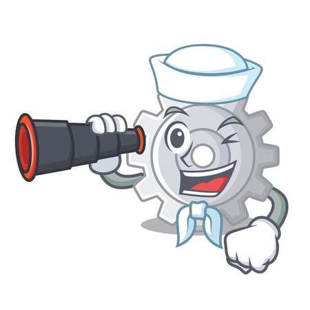 Sailor with binocular gear settings mechanism on mascot shape vectore illustaration