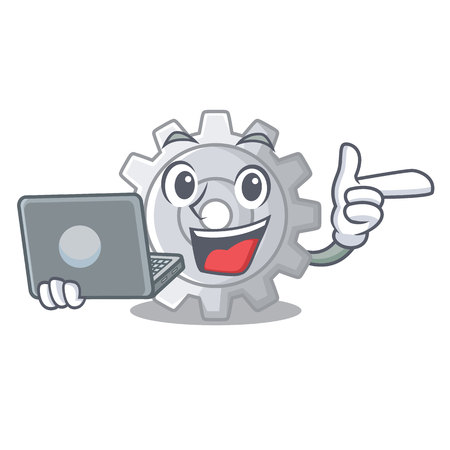 With laptop roda gear simple image on cartoon vector illustration