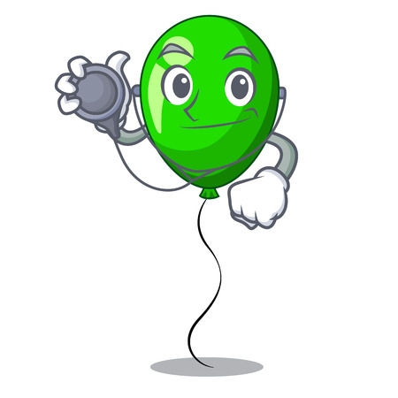 Doctor green balloon cartoon Birthday very funny vevtor illustration