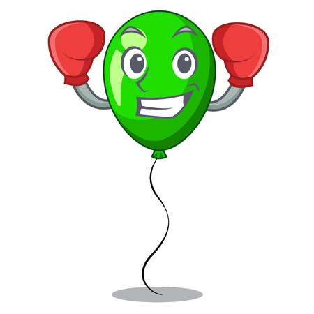 Boxing green balloon cartoon Birthday very funny vevtor illustration Çizim