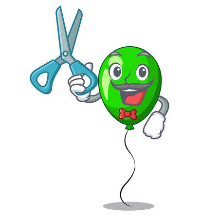 Barber green balloon cartoon Birthday very funny vevtor illustration