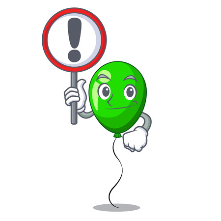 With sign green balloon cartoon Birthday very funny vevtor illustration