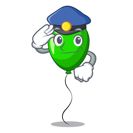 Police green balloon cartoon Birthday very funny vevtor illustration
