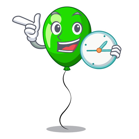 With clock green baloon on left corner mascot vector illustartion