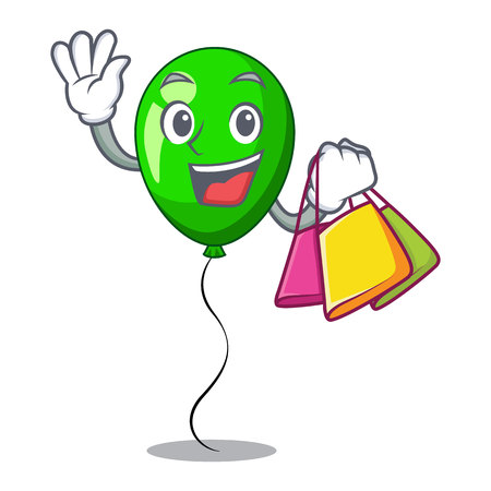 Shopping green baloon on left corner mascot vector illustartion
