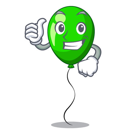 Thumbs up green baloon on left corner mascot vector illustartion