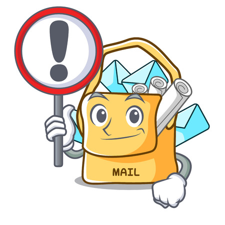 With sign bag sack fill in cartoon mail vector illustration Illustration