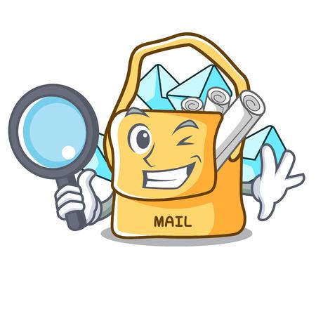 Detective the bag with shape mail cartoon 版權商用圖片 - 112094259