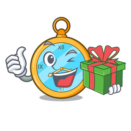 With gift antique watch isolated on a character vector illustration