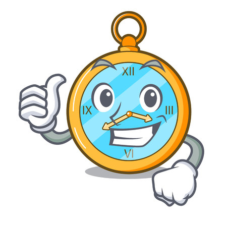 Thumbs up classic watch isolated on a mascot