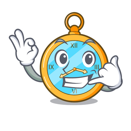 Call me gold vintage clock with picture cartoon vector illustration