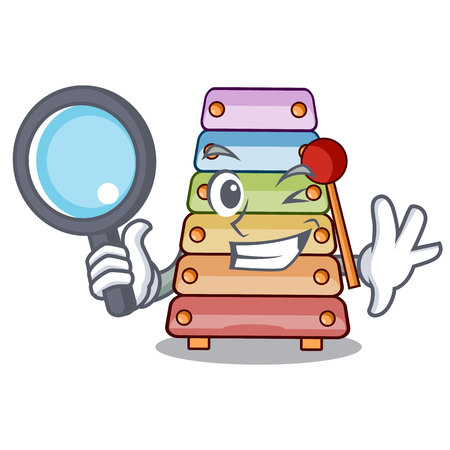Detective toy xylophone on cartoon childrens instrumen vector illustration