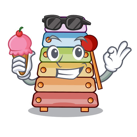 With ice cream toy xylophone on cartoon childrens instrumen vector illustration Stock Illustratie