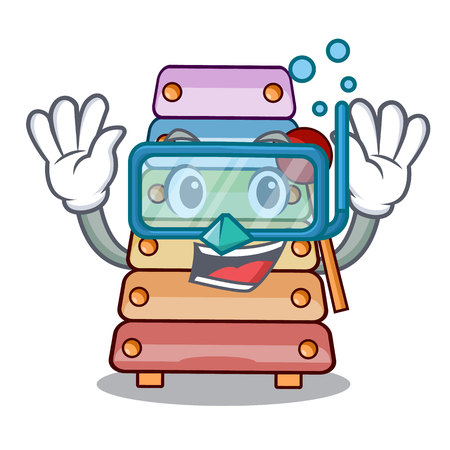 Diving toy xylophone on cartoon childrens instrumen vector illustration