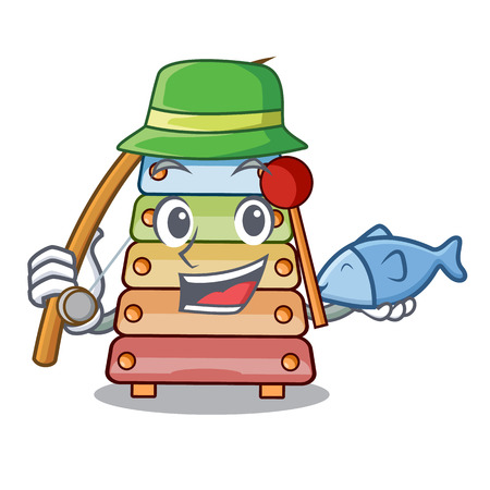 Fishing colorful toy xylophone on mallets mascot vector illustration