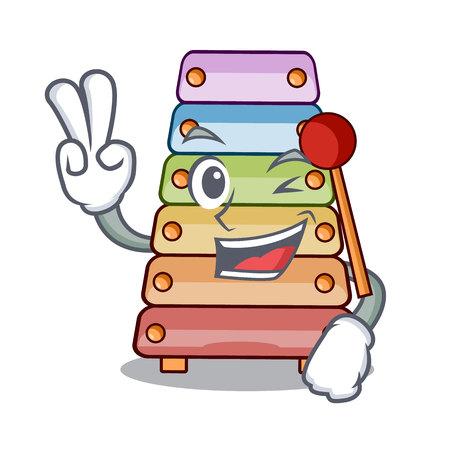 Two finger toy xylophone on cartoon childrens instrumen vector illustration Illustration