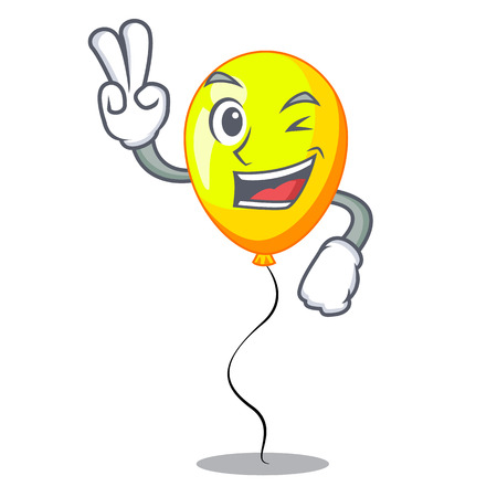 Two finger yellow balloon air in flying cartoon vector illustration Ilustrace