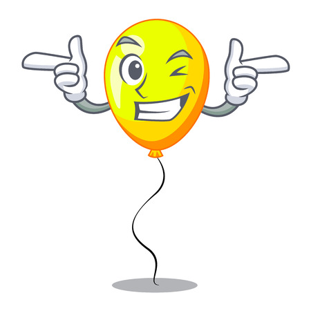 Wink yellow balloon air in flying cartoon vector illustration Ilustrace